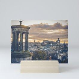 Edinburgh city and castle from Calton hill and Stewart monument Mini Art Print