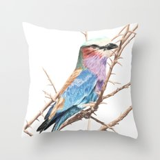 Lilac breasted roller Throw Pillow
