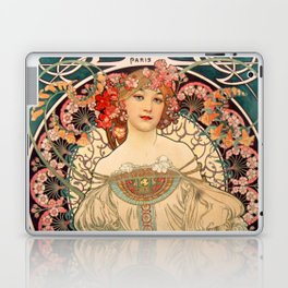 Mucha Daydream Art Nouveau Edwardian Woman Floral Portrait Laptop & iPad Skin