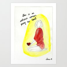 Unknown woman giving her heart Art Print