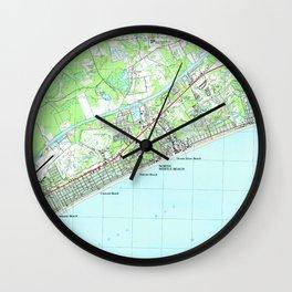 Map of North Myrtle Beach South Carolina (1990) Wall Clock