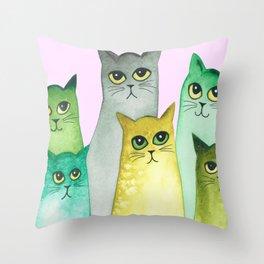 Bismarck Whimsical Cats Throw Pillow