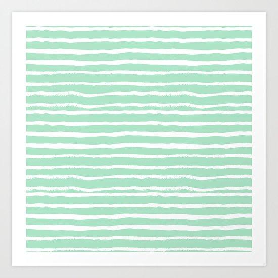 Mint stripes painted stripe pattern minimal nursery gender neutral Art Print