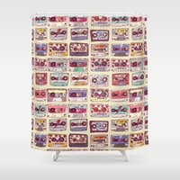 records Shower Curtains featuring Nobody's records by kubizm