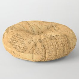 Map of New Orleans 1891 Floor Pillow