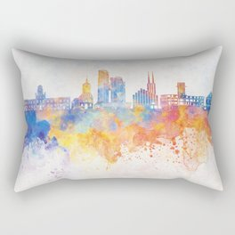 Gdynia skyline in watercolor background Rectangular Pillow