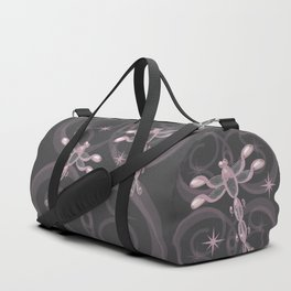 Pink, Grey, Glass Dragonflies and Stars Duffle Bag