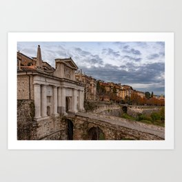 Side view of Porta San Giacomo and the walls of the upper city of Bergamo Art Print