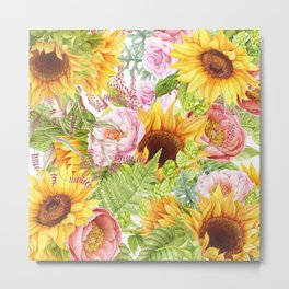 Sunflower Collage Metal Print