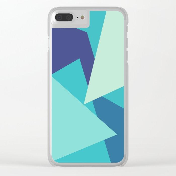 Retro Blue Mid-century Minimalist Geometric Line Abstract Art 1 Clear iPhone Case