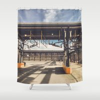pocket fuel Shower Curtains featuring Fuel Station by Dave Rasura