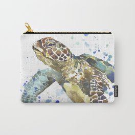 Abstract Watercolor Sea Turtle on White 2 Minimalist Coastal Art - Coast - Sea - Beach - Shore Carry-All Pouch