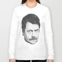 ron swanson Long Sleeve T-shirts featuring Ron Swanson by Lina