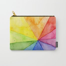 Rainbow Watercolor Geometric Pattern Carry-All Pouch