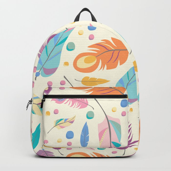 Pretty Boho Peacock Feather Pattern Backpack