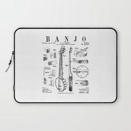 Banjo Musical Instrument Vintage Patent Drawing Print Laptop Sleeve