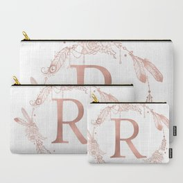 Letter R Rose Gold Pink Initial Monogram Carry-All Pouch