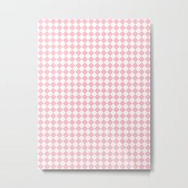 Small Diamonds - White and Pink Metal Print