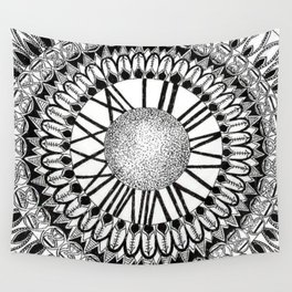 Time and Space Zoomed in Black, Grey, and White Mandala Wall Tapestry