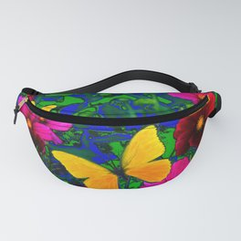 YELLOW BUTTERFLIES PINK COSMOS GREEN ABSTRACT Fanny Pack