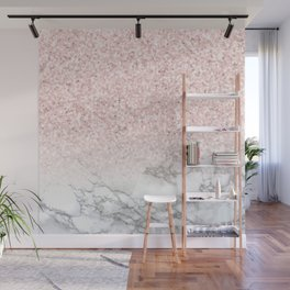 Pretty Rosegold Marble Sparkle Wall Mural