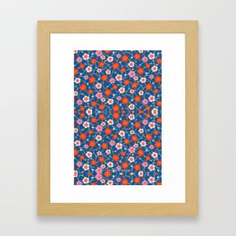 Red and Blue floral Pattern Framed Art Print