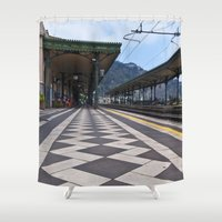 the godfather Shower Curtains featuring Train Station of Giardini Naxos on the Isle of Sicily - The Godfather by CAPTAINSILVA
