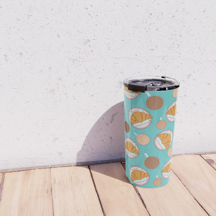 Coffee and croissant pattern Travel Mug