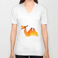 camel V-neck T-shirts featuring Camel by Sukanto Debnath