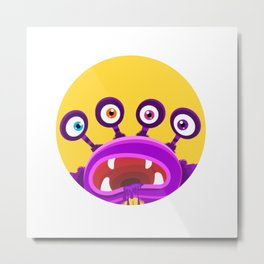 Monster Head with four eyes and drool Metal Print