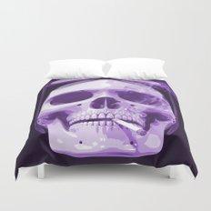 Skull Smoking Cigarette Purple Duvet Cover