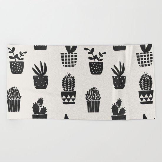 Desert Potted Cactus + Succulents Beach Towel