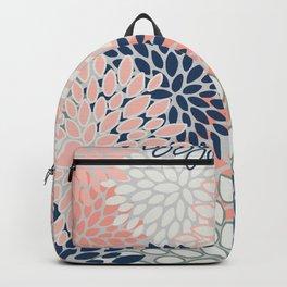 Festive, Modern, Floral Prints, Pink, Navy, Gray Backpack