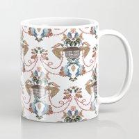baroque Mugs featuring Bird Baroque by Deborah Panesar Illustration