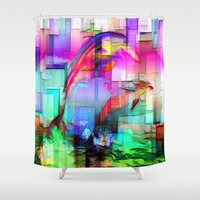 tim burton Shower Curtains featuring Dolphins Tim Henderson by WhatisArt
