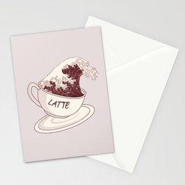 The Great Wave of Cafe Latte Coffee Caffeine Espresso Hokusai Kanagawa Stationery Cards