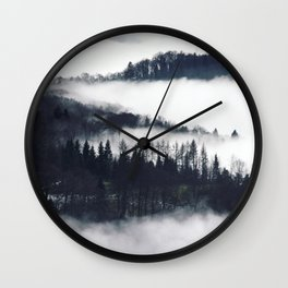 Fog in the Hills Wall Clock