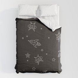 space encounters in black Comforters