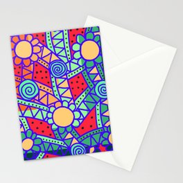 Doodle Art Flower - Pathways - Red Blue Stationery Cards