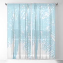 Palm Tree Turquoise Teal Summer Beach Sheer Curtain