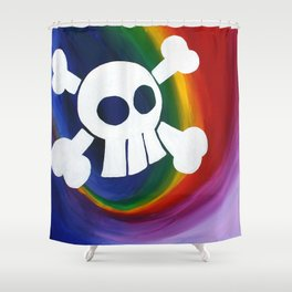 Rainbow Skull Painting Shower Curtain