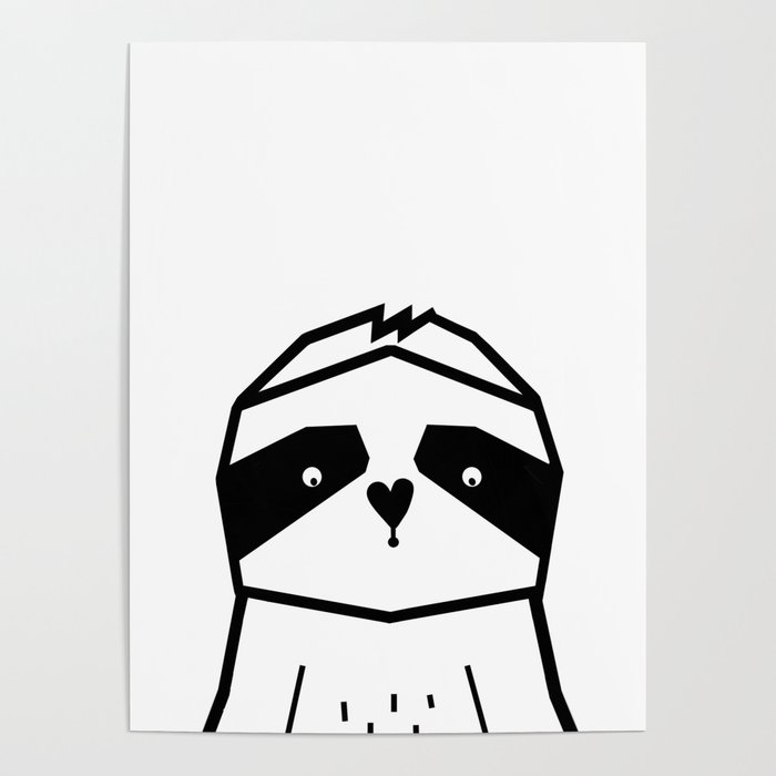 Geometric Sloth Nursery Art Black And White Modern Kids Poster Scandinavian By Lilabluestudio