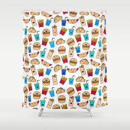 Kawaii Fast Food Burger Fries Taco Pattern White Shower Curtain