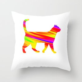 Rainbow Square Cat Inverted Fire Throw Pillow