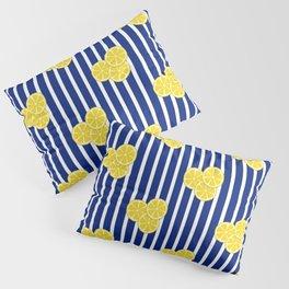 Lemon Slices on Navy Stripes Pillow Sham