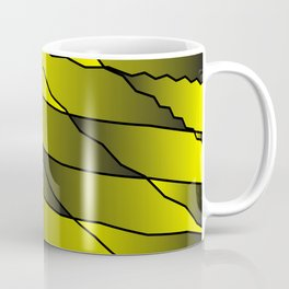 Slanting repetitive lines and rhombuses on iridescent yellow with intersection of glare. Coffee Mug