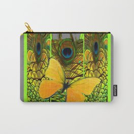 GREEN ART NOUVEAU BUTTERFLY PEACOCK PATTERNS Carry-All Pouch