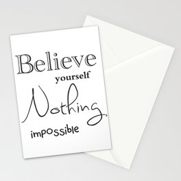 Believe yourself motivation quote print Stationery Cards