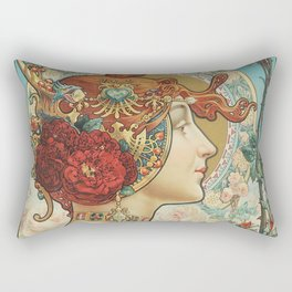 French Art Nouveau Woman Rectangular Pillow