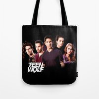 teen wolf Tote Bags featuring teen wolf by kikabarros